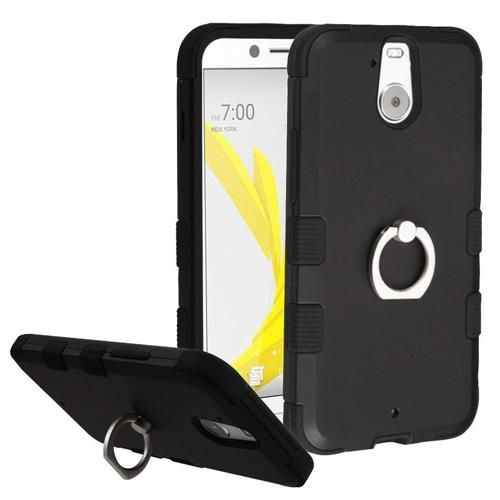 Insten Hard Dual Layer Rubber Silicone Cover Case w/Ring stand For HTC Bolt, Black