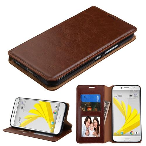 Insten Flip Leather Fabric Case w/stand/card slot/Photo Display For HTC Bolt, Brown