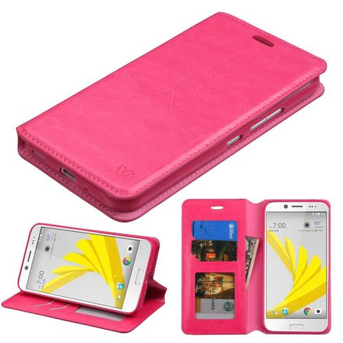 Insten Folio Leather Fabric Cover Case w/stand/card slot/Photo Display For HTC Bolt, Hot Pink