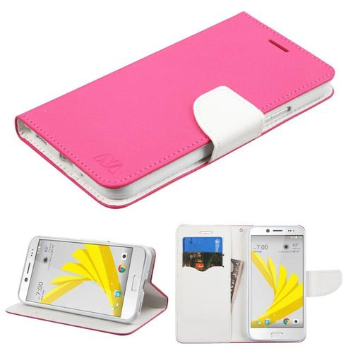 Insten Folio Leather Fabric Cover Case w/stand/card holder For HTC Bolt, Hot Pink/White
