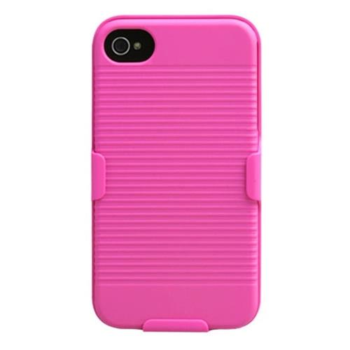 Insten Hard Rubber Cover Case w/Holster For Apple iPhone 4/4S, Pink