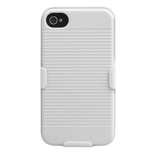 Insten Hard Case w/Holster For Apple iPhone 4/4S, White