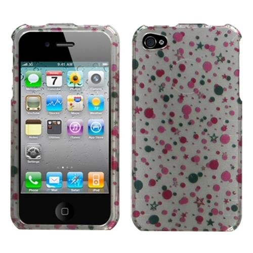 Insten Polka Stars Hard Cover Case For Apple iPhone 4/4S, White/Other