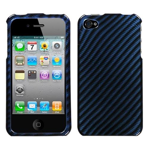 Insten Racing Fiber Hard Case For Apple iPhone 4/4S, Blue