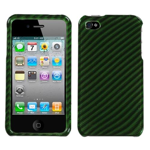 Insten Racing Fiber Hard Case For Apple iPhone 4/4S, Green