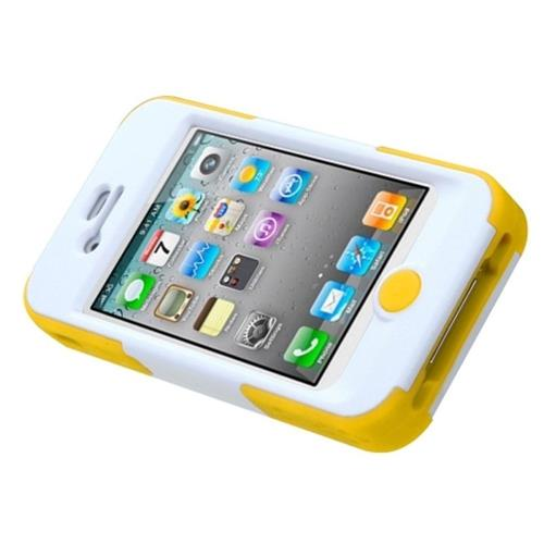 Insten Goalkeeper Hard Hybrid Plastic Silicone Case w/stand For Apple iPhone 4/4S, Green/Yellow
