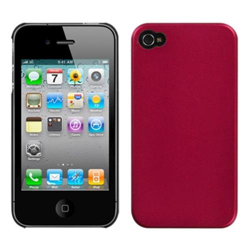 Insten Hard Rubber Coated Cover Case For Apple iPhone 4/4S, Red