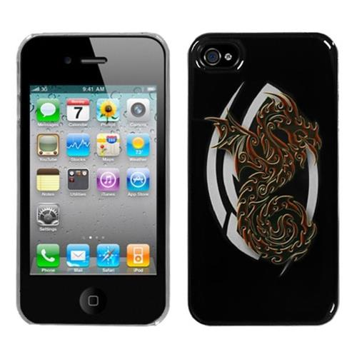 Insten Firebrand Dragon Hard Cover Case For Apple iPhone 4/4S, Black/Clear