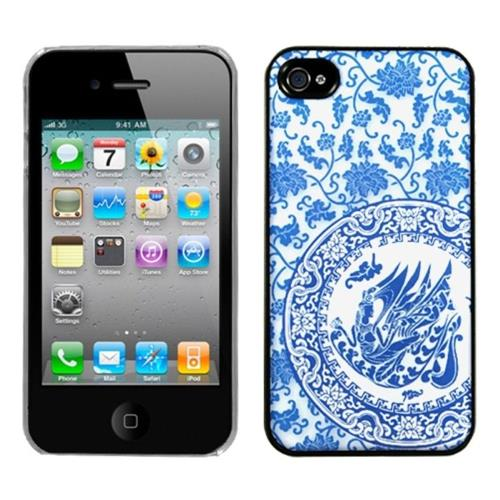 Insten Fitted Hard Shell Case for iPhone 4 / 4S - Blue/White