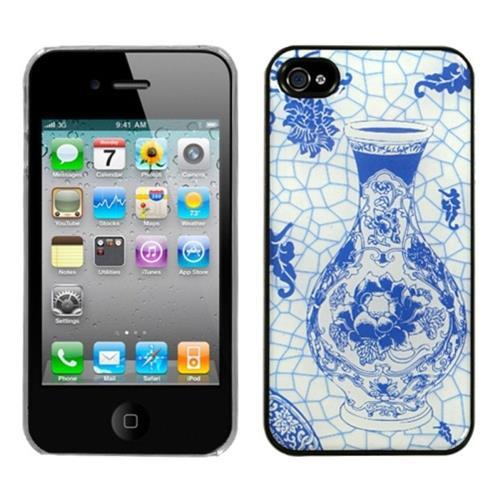 Insten Porcelain Bottle Hard Cover Case For Apple iPhone 4/4S, Blue/White