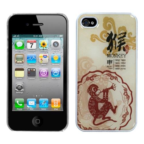 Insten Monkey-Chinese Zodiac Hard Case For Apple iPhone 4/4S /Clear