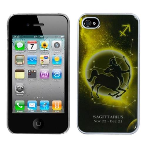 Insten Sagittarius Horoscope Hard Cover Case For Apple iPhone 4/4S, Black/Yellow