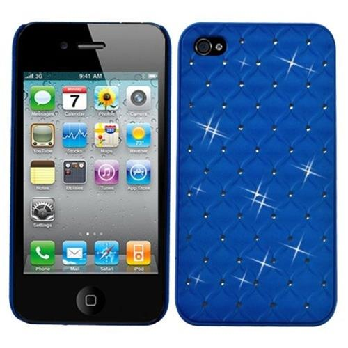 Insten Lattice Hard Rubber Cover Case w/Diamond For Apple iPhone 4/4S, Blue
