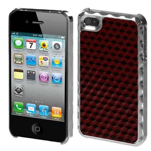 Insten Argyle Hard Rubberized Chrome Cover Case For Apple iPhone 4/4S, Red/Silver