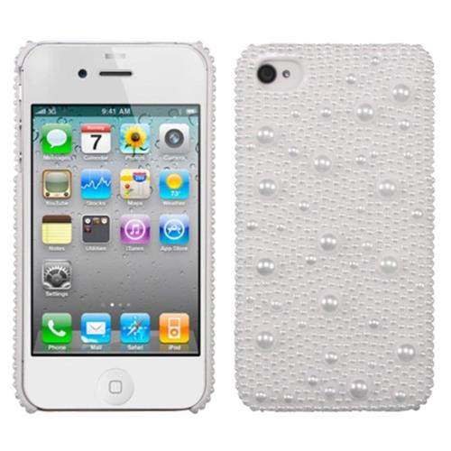 Insten Hard Bling Case For Apple iPhone 4/4S, White