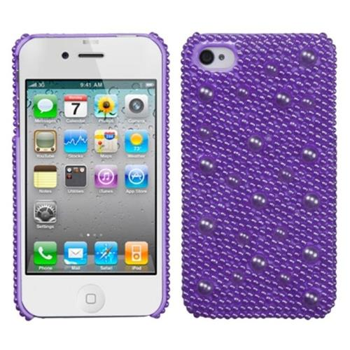 Insten Hard Diamante Cover Case For Apple iPhone 4/4S, Purple