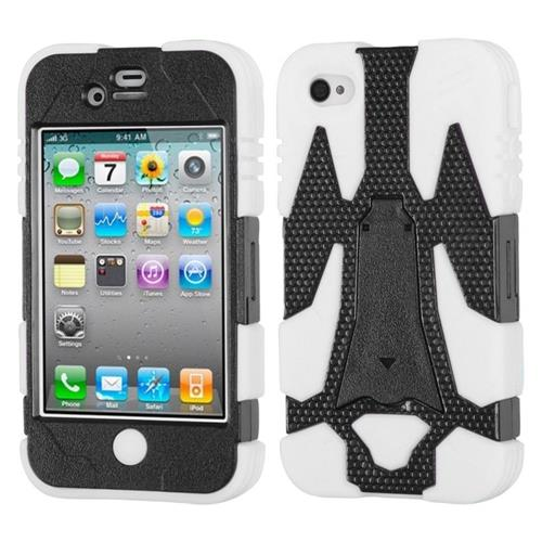 Insten Cyborg Hard Hybrid Rubber Coated Case w/stand For Apple iPhone 4/4S, White/Black