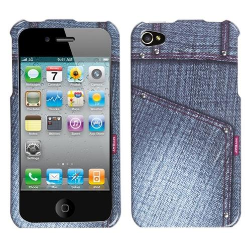 Insten Jeans Hard Case For Apple iPhone 4/4S, Black