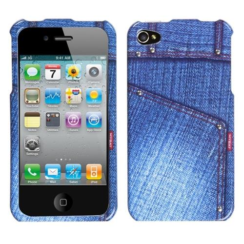 Insten Jeans Hard Cover Case For Apple iPhone 4/4S, Blue