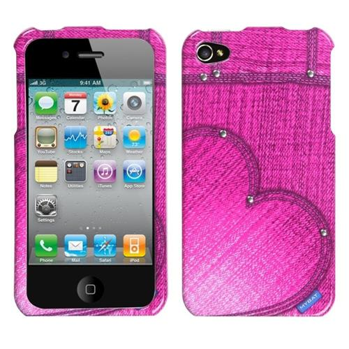 Insten Blushing Heart Jean Hard Case For Apple iPhone 4/4S, Pink
