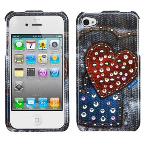 Insten Jean Hearts Hard Cover Case For Apple iPhone 4/4S, Black/Red