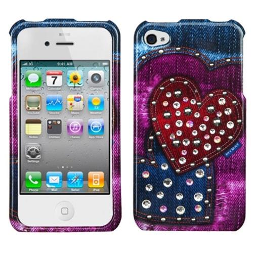 Insten Rainbow Jean Hearts Hard Case For Apple iPhone 4/4S