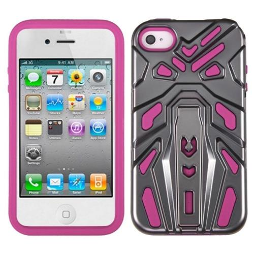 Insten Zenobots Hard Dual Layer Metallic Silicone Case w/stand For Apple iPhone 4/4S, Hot Pink/Gray