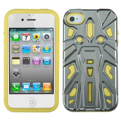 Insten Zenobots Hard Hybrid Metallic Silicone Case w/stand For Apple iPhone 4/4S, Yellow/Silver