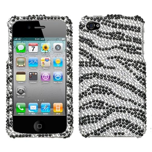 Insten Zebra Hard Diamond Cover Case For Apple iPhone 4/4S, Black/Silver