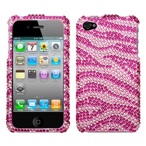 Insten Zebra Hard Bling Cover Case For Apple iPhone 4/4S, Hot Pink/Pink