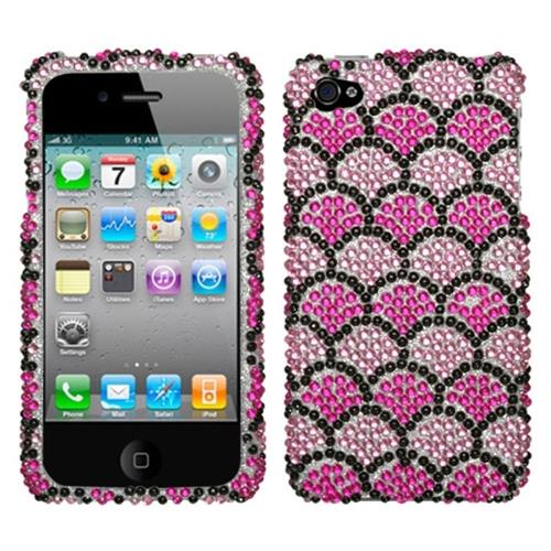 Insten Wavelet Hard Rhinestone Case For Apple iPhone 4/4S, Hot Pink/Pink