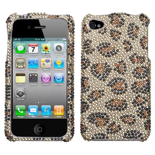 Insten Leopard Hard Bling Cover Case For Apple iPhone 4/4S, Brown