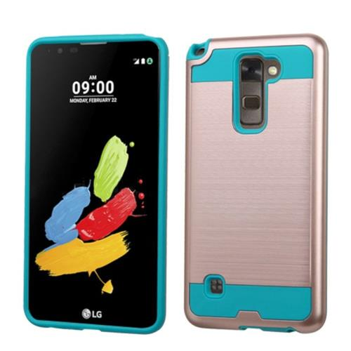 Insten Hard Hybrid Rubber Silicone Case For LG Stylo 2/Stylus 2, Rose Gold/Teal