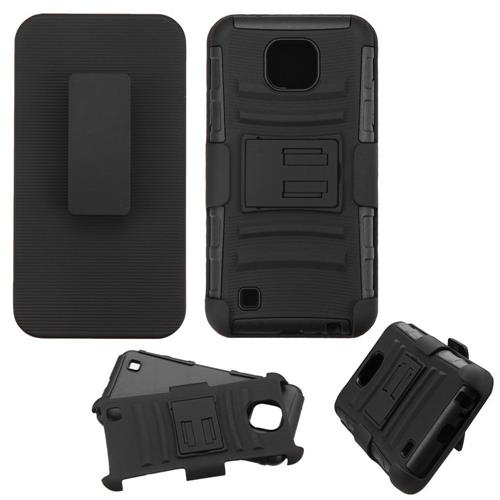 Insten Hard Dual Layer Plastic Silicone Cover Case w/Holster For LG X Cam, Black
