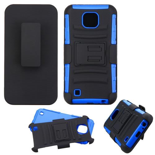 Insten Hard Hybrid Plastic Silicone Case w/Holster For LG X Cam, Black/Blue