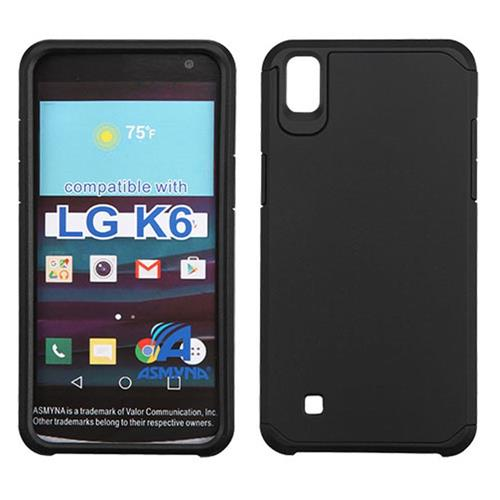 Insten Hard Hybrid Rubberized Silicone Cover Case For LG K6, Black