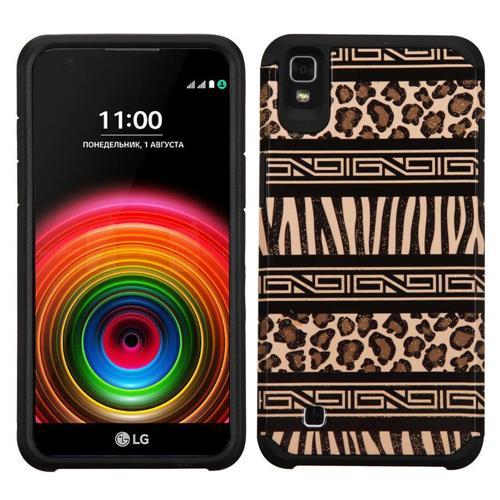 Insten Leopard Hard Hybrid Rubberized Silicone Case For LG K6, Brown/Black