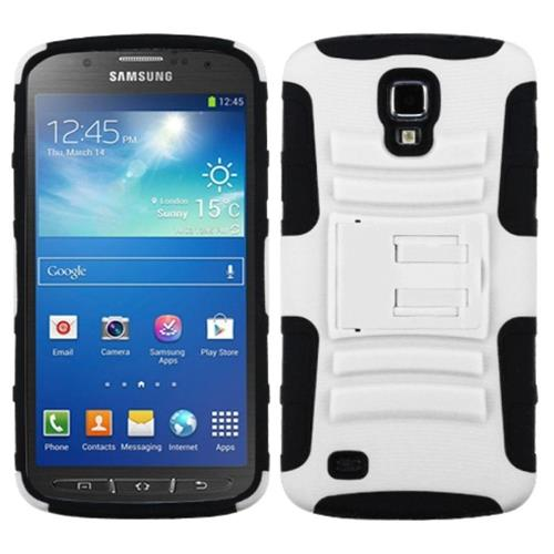 Insten Advanced Armor Hard Hybrid Silicone Case w/stand For Samsung Galaxy S4 Active, White/Black