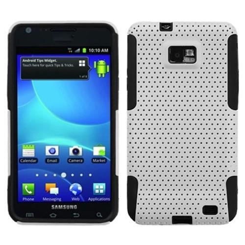 Insten Astronoot Mesh Hard Hybrid Rubber Silicone Case For Samsung Galaxy S2 Attain, White/Black