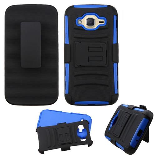 Insten Hard Dual Layer Plastic Silicone Cover Case w/Holster For Samsung Galaxy J2(2016), Black/Blue