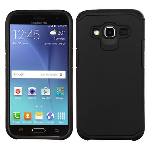 Insten Hard Dual Layer Silicone Cover Case For Samsung Galaxy J2(2016), Black
