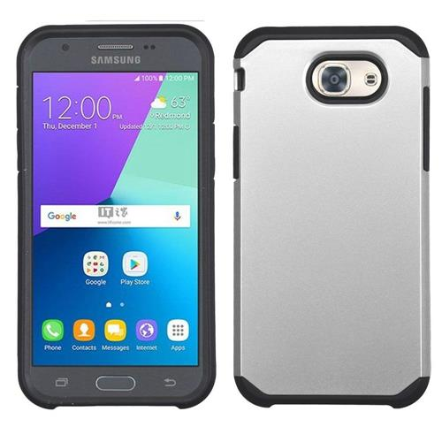 Insten Hard Hybrid Rubberized Silicone Case For Samsung Galaxy J3(2017), Silver/Black