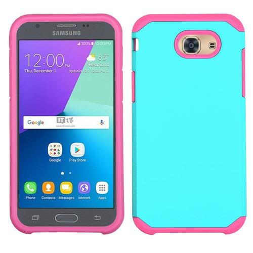 Insten Hard Dual Layer TPU Case For Samsung Galaxy J3(2017), Teal/Pink