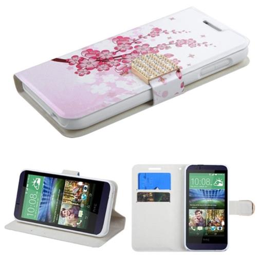 Insten Spring Flowers Book-Style Leather Case card slot/Diamond For HTC Desire 510, White/Pink