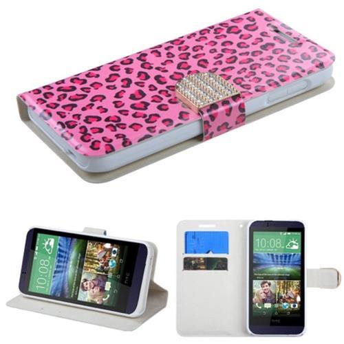 Insten Leopard Skin Flip Leather Case w/stand/card holder/Diamond For HTC Desire 510, Hot Pink/Black