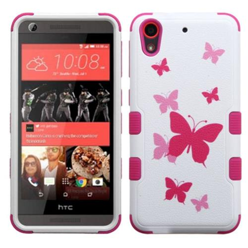 Insten Butterfly Dancing Hard Dual Layer Silicone Case For HTC Desire 626/626s, Hot Pink/White