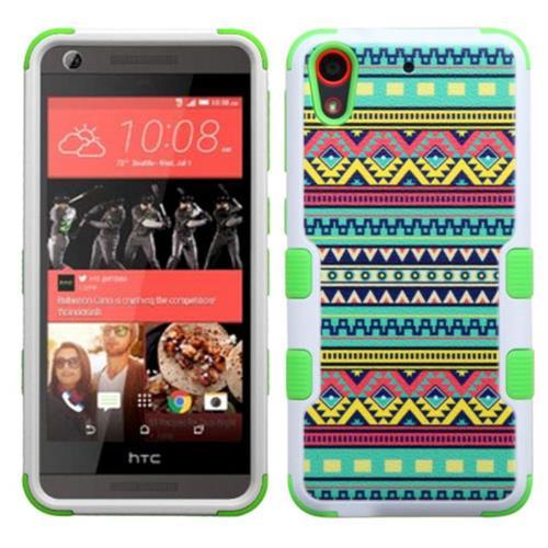Insten Tuff Tribal Sun Hard Dual Layer Rubber Silicone Case For HTC Desire 626/626s, Green/White