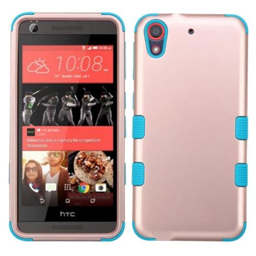 Insten Tuff Hard Hybrid Rubber Silicone Case For HTC Desire 626/626s, Rose Gold/Teal