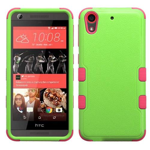Insten Tuff Hard Hybrid Rubberized Silicone Cover Case For HTC Desire 626/626s, Green/Hot Pink