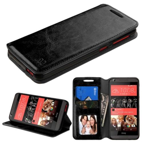 Insten Folio Leather Fabric Case w/stand/card holder/Photo Display For HTC Desire 626/626s, Black